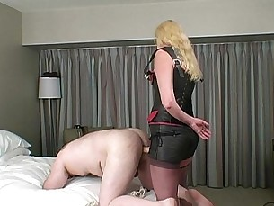 stockings,dildo,blonde,humiliation,strapon