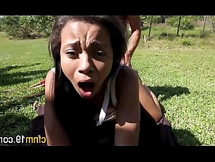 cumshot,teen,ebony,outdoor,ass